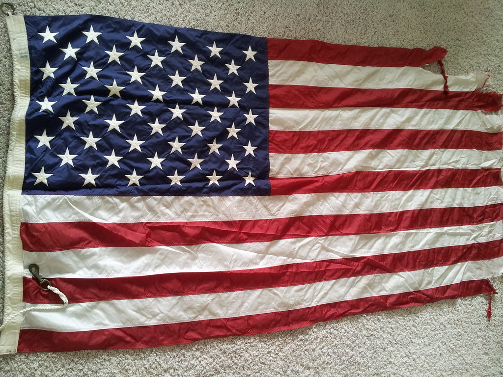 Tattered U.S. Naval Ensign - Combat-used