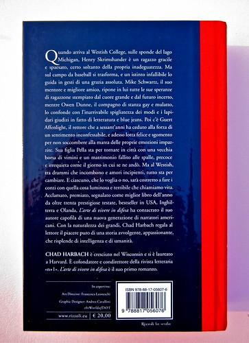 Chad Harbach, L'arte di vivere in difesa. Rizzoli 2011. Art director Francesca Leoneschi; graphic designer: Andrea Cavallini. Quarta di copertina (part.), 1
