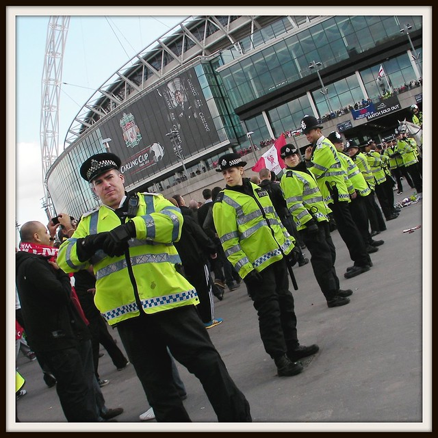 Carling Cup Final 2012-Cardiff City v Liverpool-Heavy hand of the law!