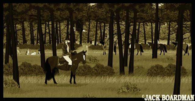AJ & Dogs, Wolves, Flutters & Karma defeat the outlaws ©2012 Jack Boardman
