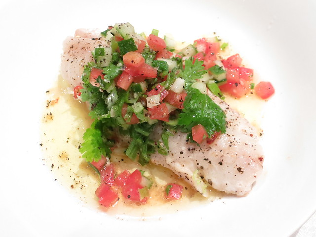 Pan-grilled rock perch fillet with green gazpacho