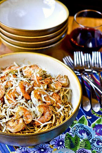 Spaghetti with Pesto & Shrimp