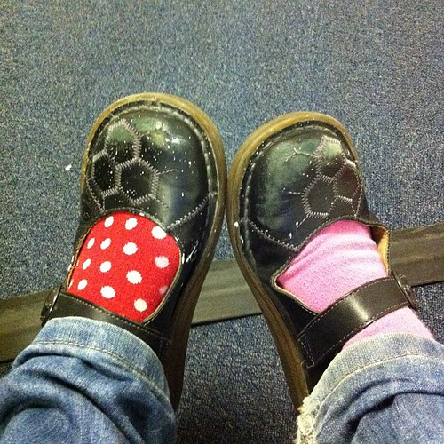 Speckled and scuffed shoes