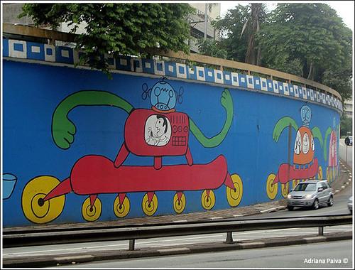Acesso ao buraco da Paulista - graffiti de Rui Amaral