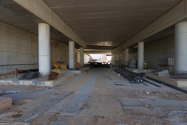 Trabajos bajo el puente de Sant Adrià - 15-02-12