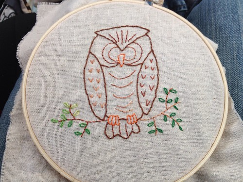 Owl embroidery in progress
