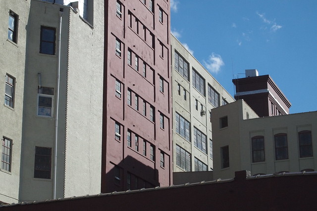 View from Flushing Avenue of the Mergenthaler Buildings on Hall and Ryerson Streets in Brooklyn