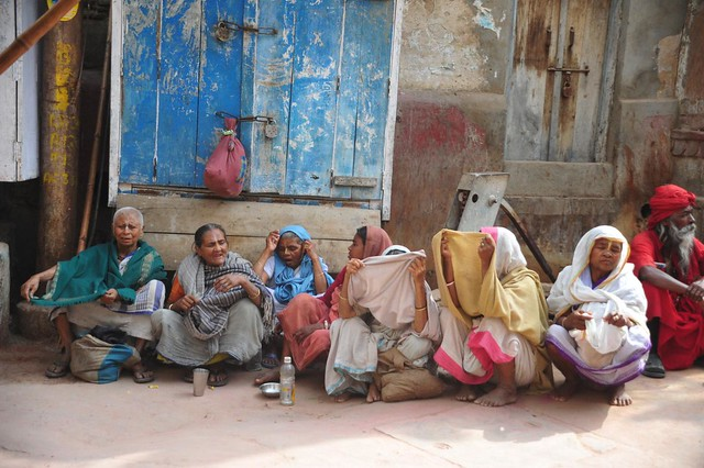 The Widows of vrindavan, waiting for alms