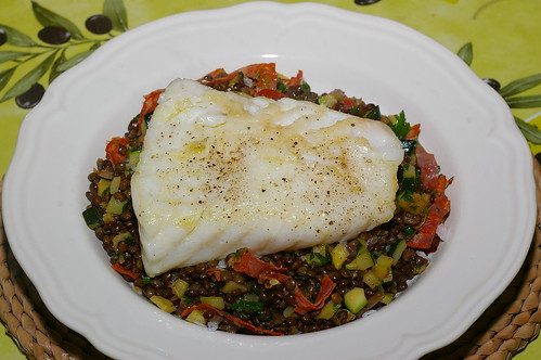 Cod loin with Puy lentils and chorizo by La belle dame sans souci