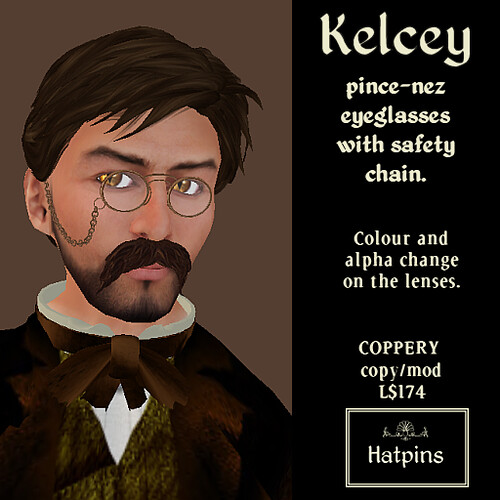 Hatpins - Kelcey Pince-Nez Eyeglasses - Safety Chain - Coppery