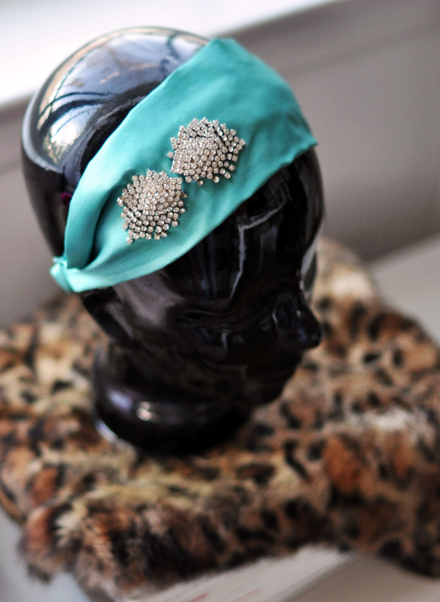 vintage  rhinestones on  a satin head band