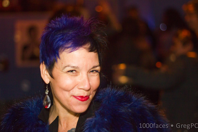 Face - fantastic woman with purple hair and jacket