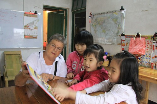 Reading to the girls
