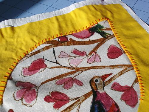 Close up of stitching on Dogwood Blossom
