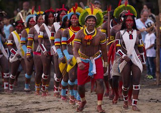chief Raoni's Warriors - RIO - june 15 2012 prepared to firght to the death for the Amazon Rainforest
