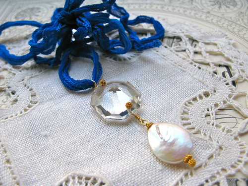Jubilee necklace /blue ribbon