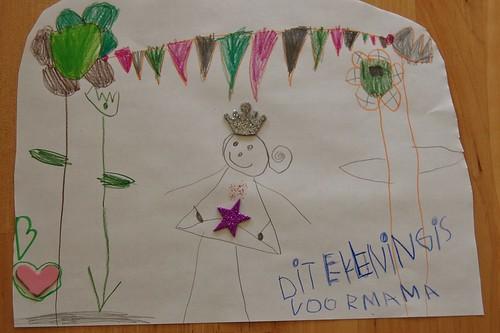 tekening van een prinses, voor mama
