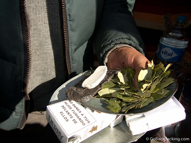 Coca leaves are chewed religiously by miners