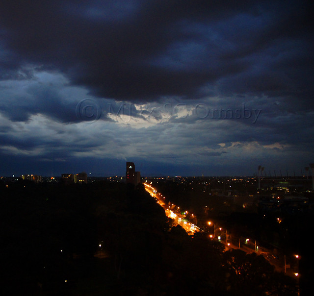 Evening city lighting