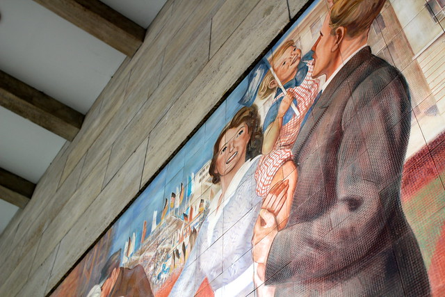 Mural illustrating the supposed worker's paradise of the German Democratic Republic
