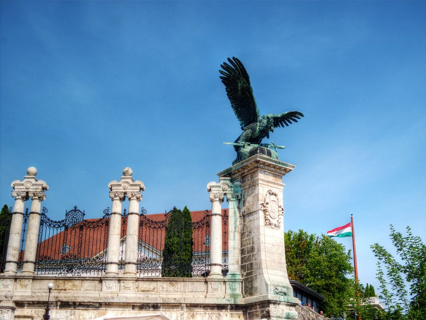 Mythical Turul Bird of Magyar bronze statue outside of palace.