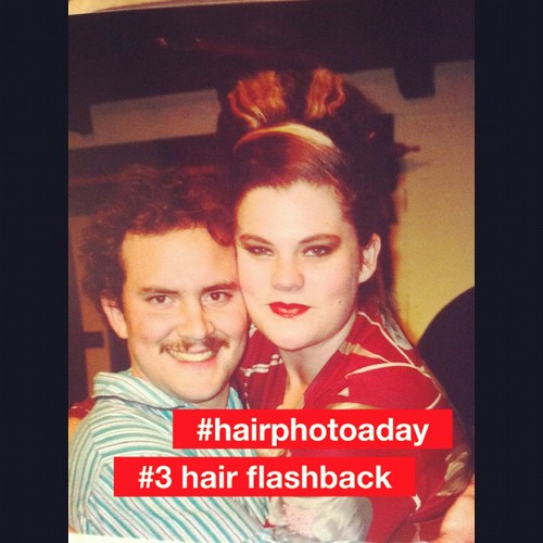 #hairphotoaday #3 - hair flashback. Production of After Magritte circa 2004. Very attractive streaky beehive.