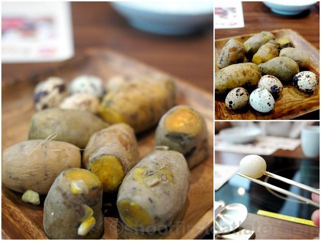 sweet potatoes and quail eggs