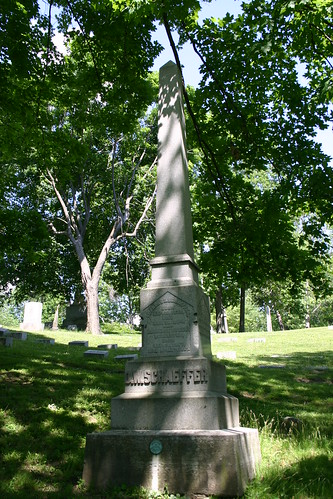 Tombstone of David W. Schaeffer in Woodland Cemetery, Dayton, Ohio