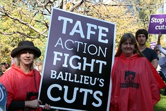 TAFE Action - TAFE teachers and students rally outside Premier Baillieu's office