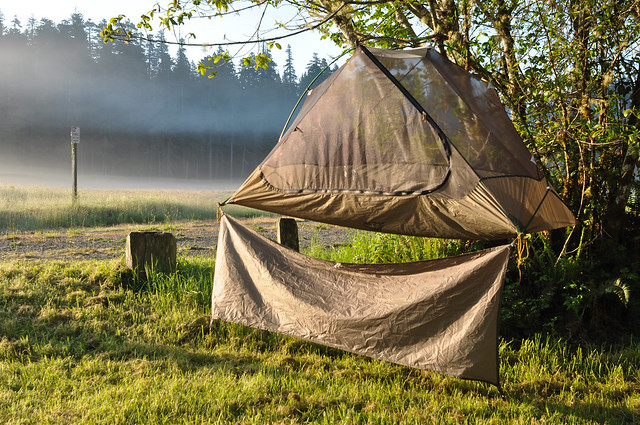 Drying a dew-covered tent