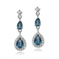 Sterling Silver London Blue & White Topaz Fashion Teardrop ...