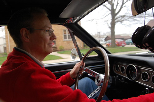 Behind the wheel of his Mustang