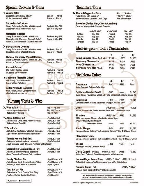 Dragonfly Desserts menu
