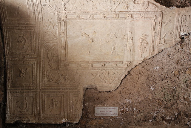 He found this stucco decoration that dates from the first half of the 1st century AD