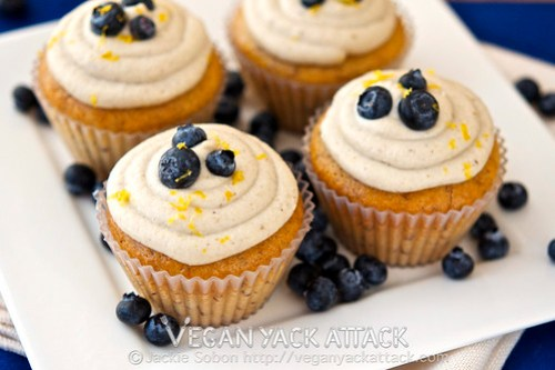 These Berry-Filled Banana Cupcakes with Lemon Coconut Frosting are delightfully moist, and made without vegan butter or shortening! Vegan, Soy-free