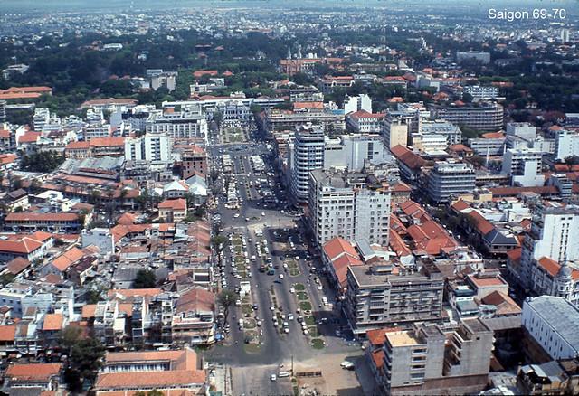Aerial view of downtown Saigon 69-70 - Nguyen Hue Boulevard
