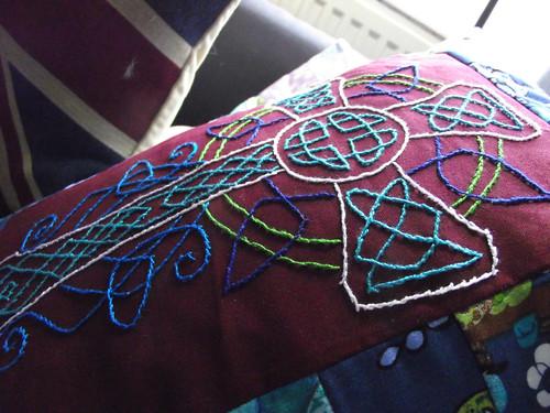 Celtic cross cushion close up