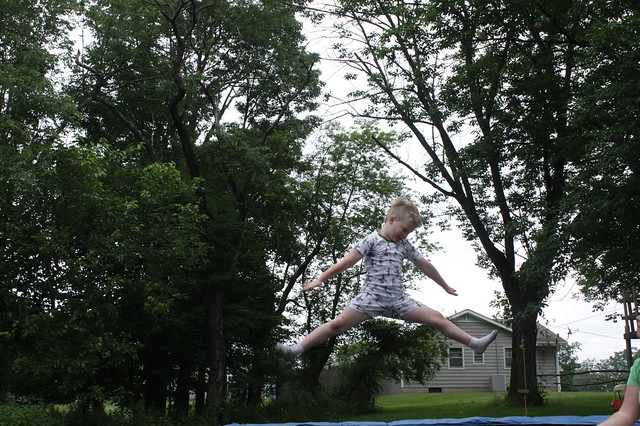 Look who got a trampoline!