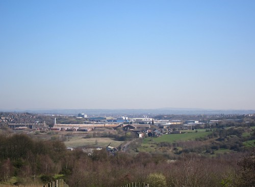 View over Newcastle towards Staffordshire Moorlands from Apedale