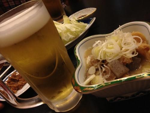 ビール&牛すじ煮込み@ちゃんこ酒場 角力