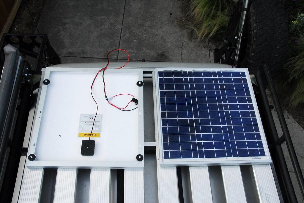 Solar Panels Installed On Roof Rack