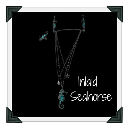 Maxi Gossamer Inlaid Seahorse Necklace, Earrings and Ring