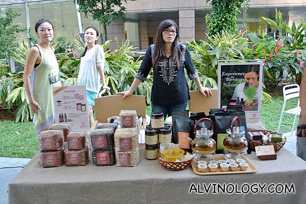 Booth selling organic rice and tea