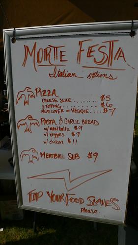 MDF X Italian Food Menu