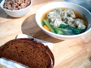 Slices of Gontran Cherrier's Rye and Red Miso Bread Boule from Tiong Bahru Bakery x Dumpling soup from Real Food Killiney