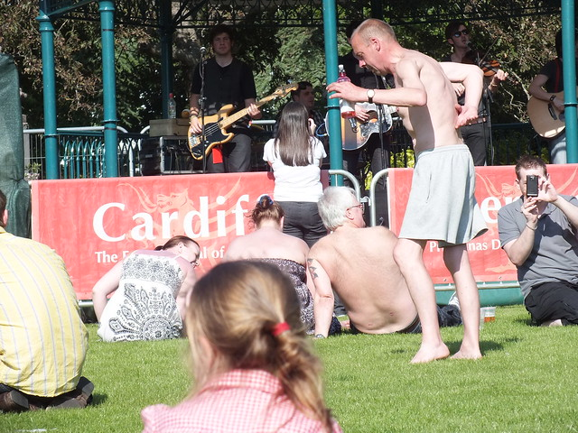 Crazy dancer at Olympic party at Cathays park