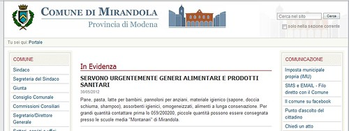 ITALIA - EMERGENZA EMILIA / TERREMOTO / COMUNE DI MIRANDOLA / PROVINCIA DI MODENA: SERVONO URGENTEMENTE GENERI ALIMENTARI E PRODOTTI SANITARI (30/05/2012).  FONTE / SOURCE: COMUNE DI MIRANDOLA  (30/05/2012). by Martin G. Conde