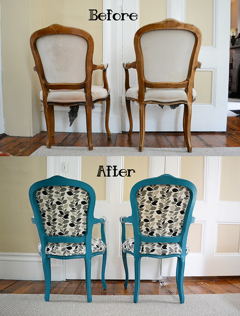 Craigslist DIY Chair Makeover- Painted, Glazed, and Upholstered- Back