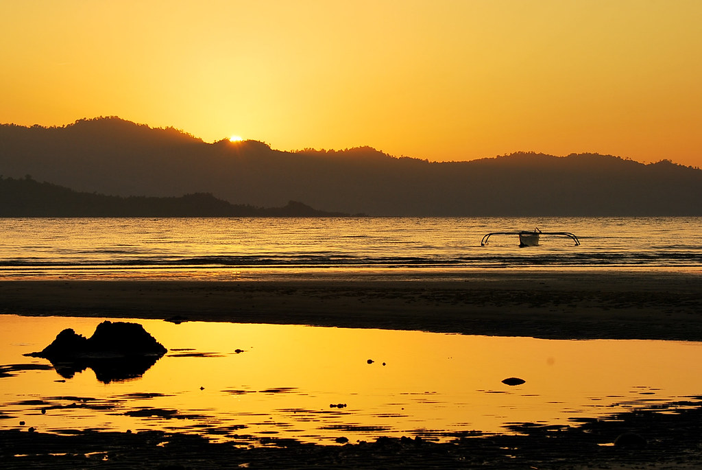 Port Barton, San Vicente, Palawan, Sunset, Beach, Outrigger, Bangka, Boat