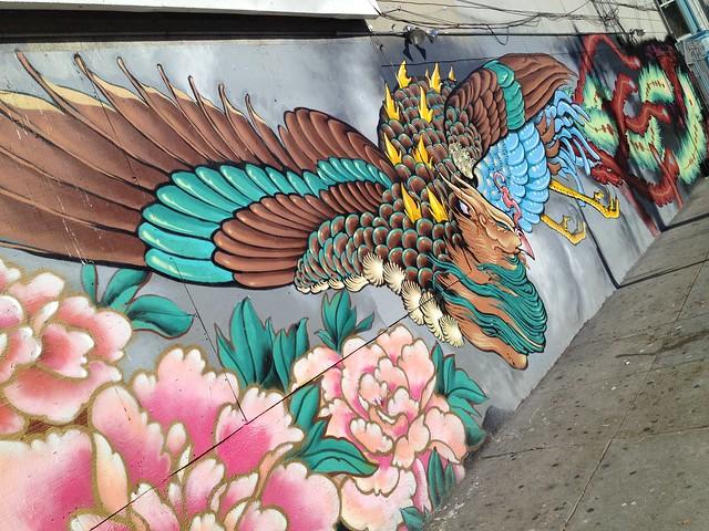 Burning phoenix graffiti mural, The Mission